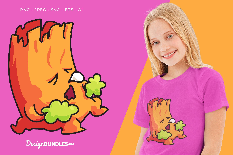 Sleeping Tree Monster Vector Illustration For T-Shirt Design example image 1