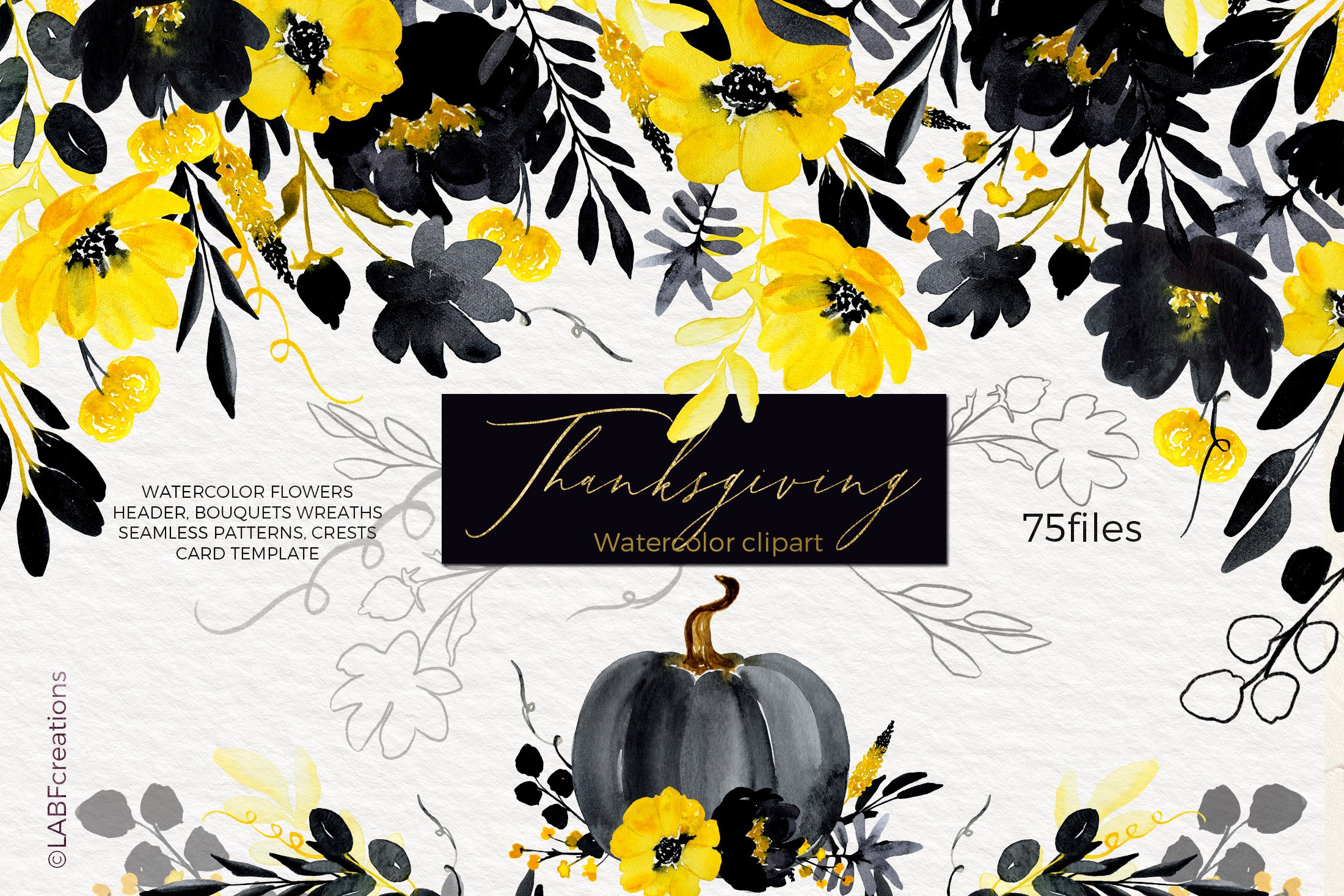 Thanksgiving. Black & Yellow Watercolor flowers example image 1
