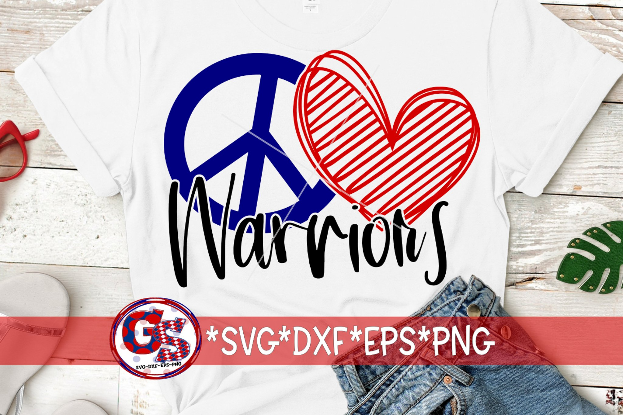 Peace Love Warriors SVG DXF EPS PNG example image 3