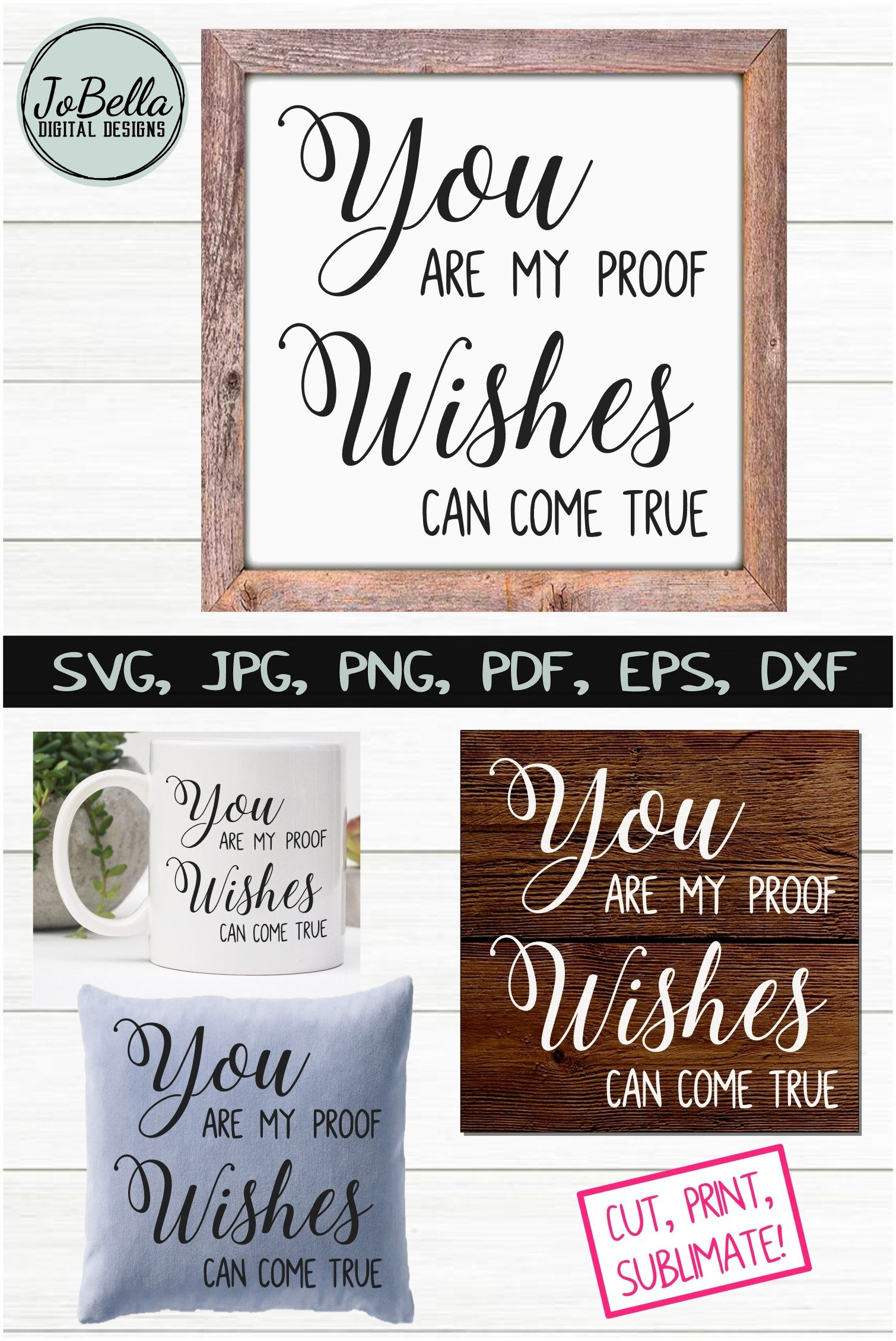 Download Wishes Can Come True Love SVG, Sublimation PNG & Printable ...