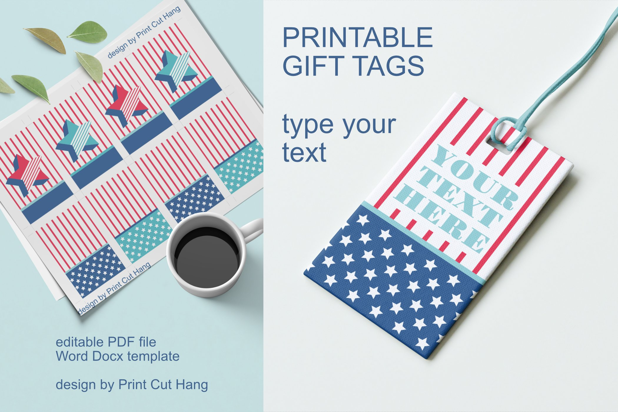 Patriotic Tags with Star Printable Editable PDF Tag Template example image 3