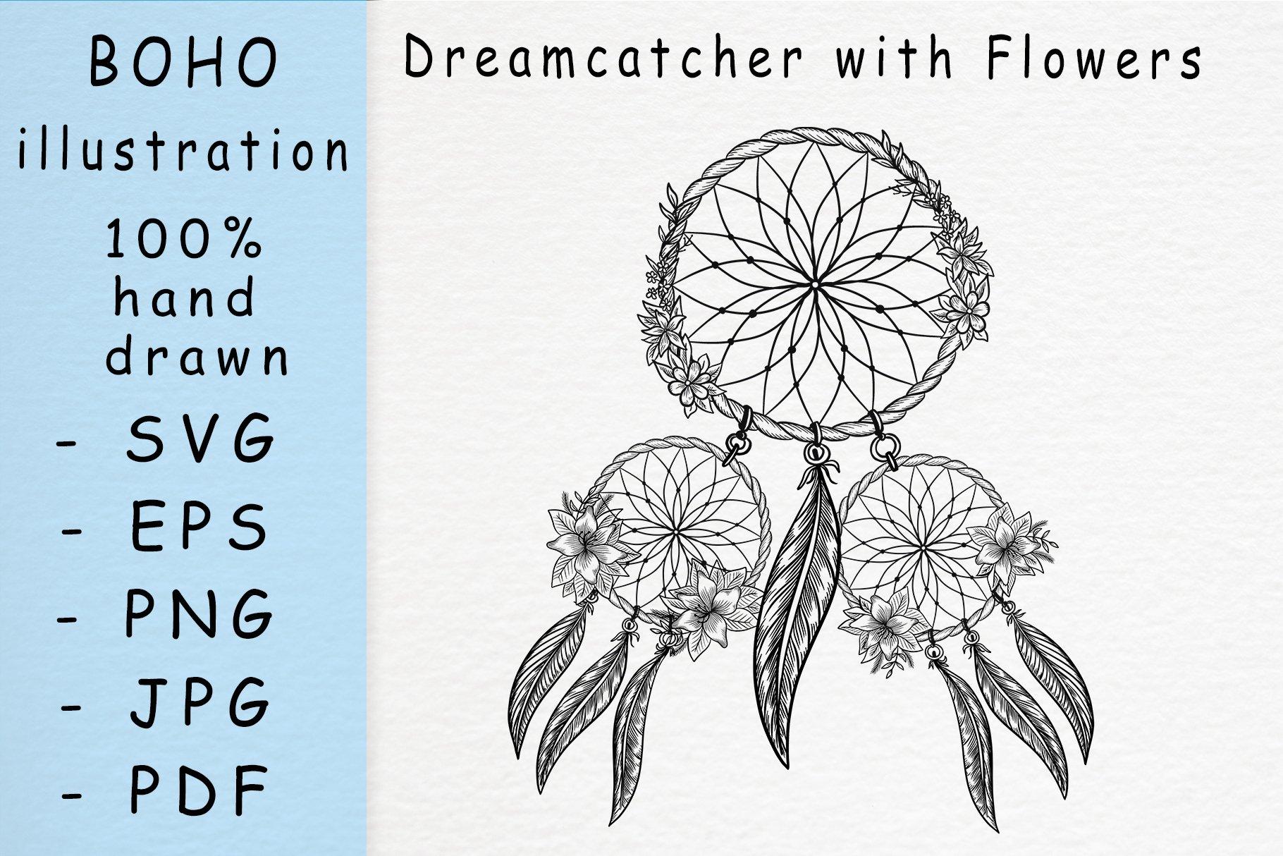 Boho illustration / Dreamcatcher with flowers example image 1