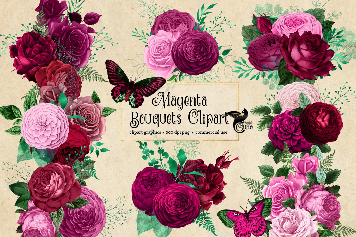 Magenta Bouquets Clipart example image 4