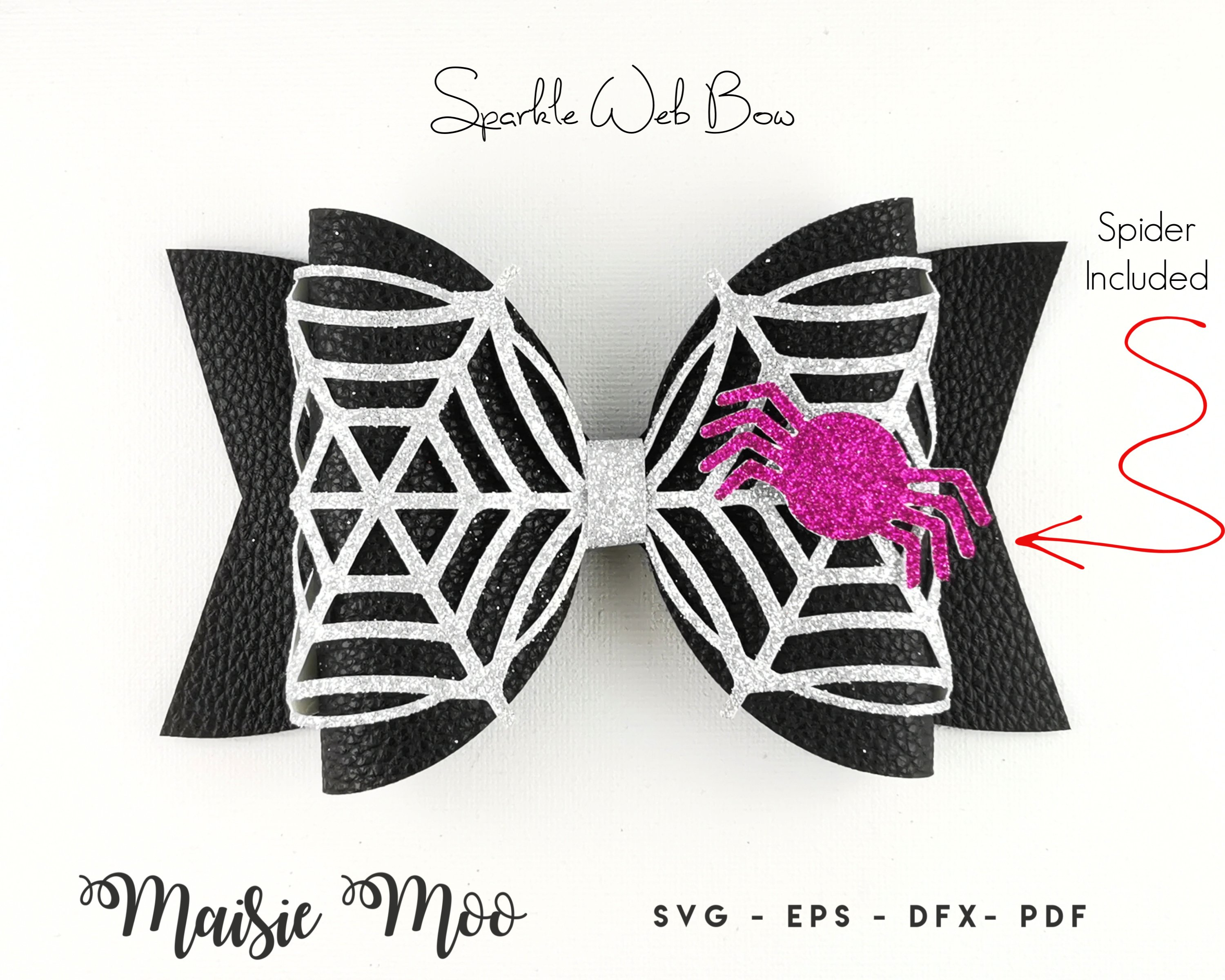 Spiderweb Bow Template SVG, Lace Bow SVG, Felt Bow PDF, example image 4