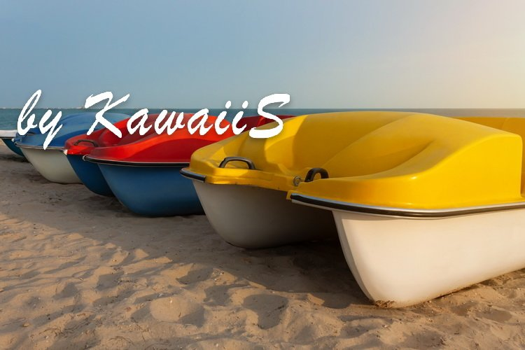 Colorful catamarans pedal boats on the sunset on a sea beach example image 3