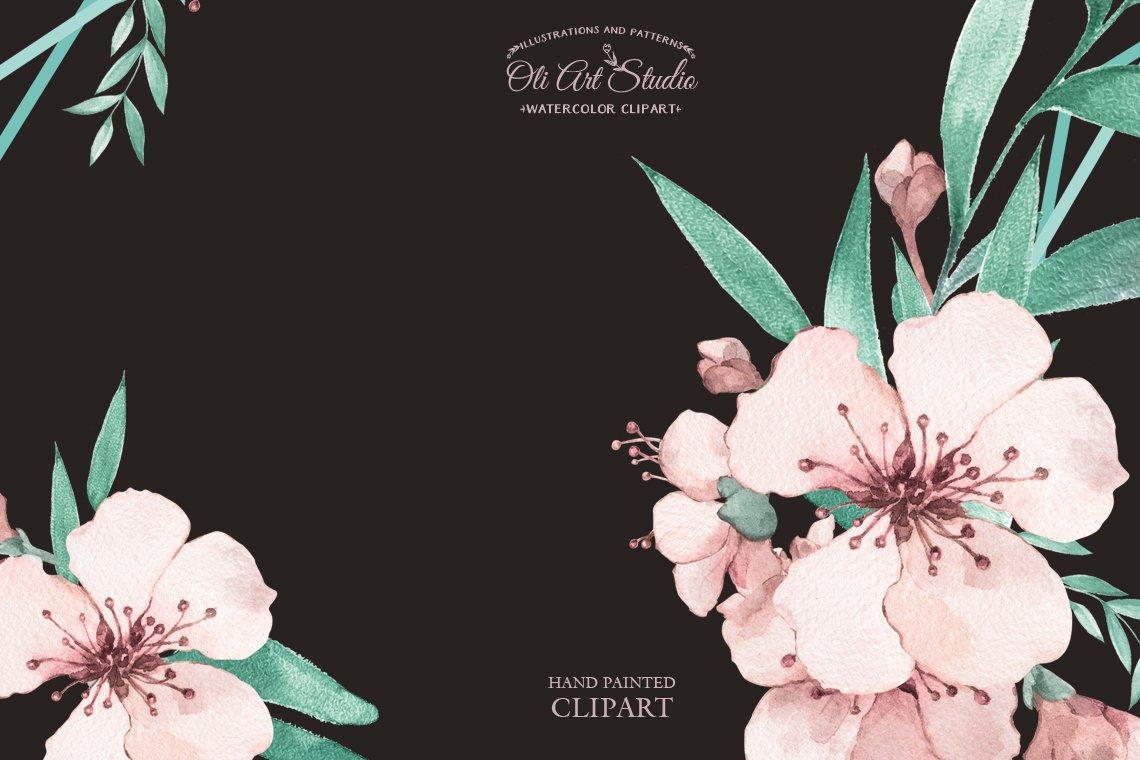 Watercolor sakura wreaths example image 3