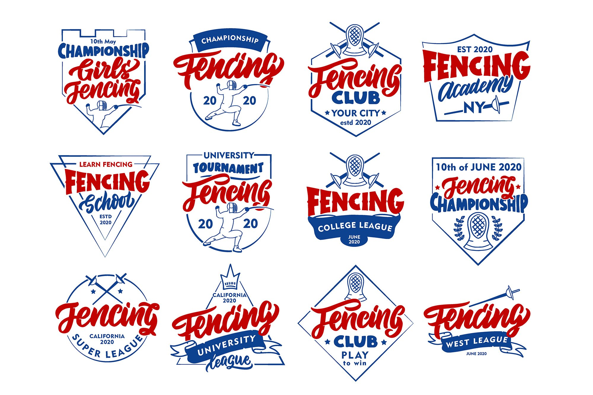 Set of Fencing logos example image 6