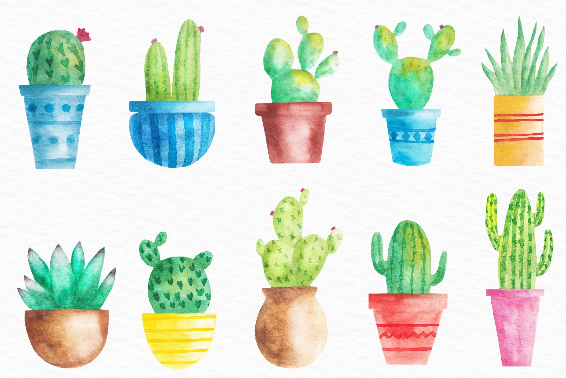 Watercolor Cactus illustration, Cactus Pots Clipart example image 2