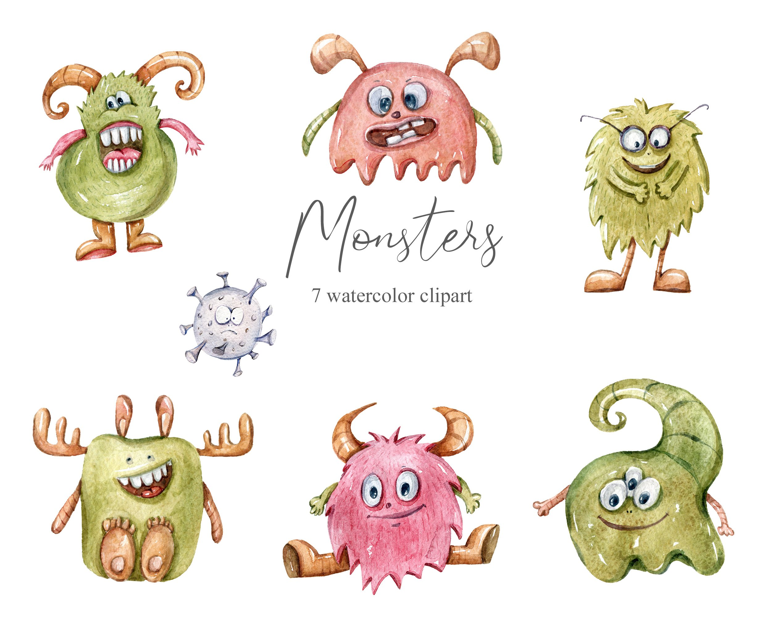 Watercolor monster clipart. Bacteria collection example image 2