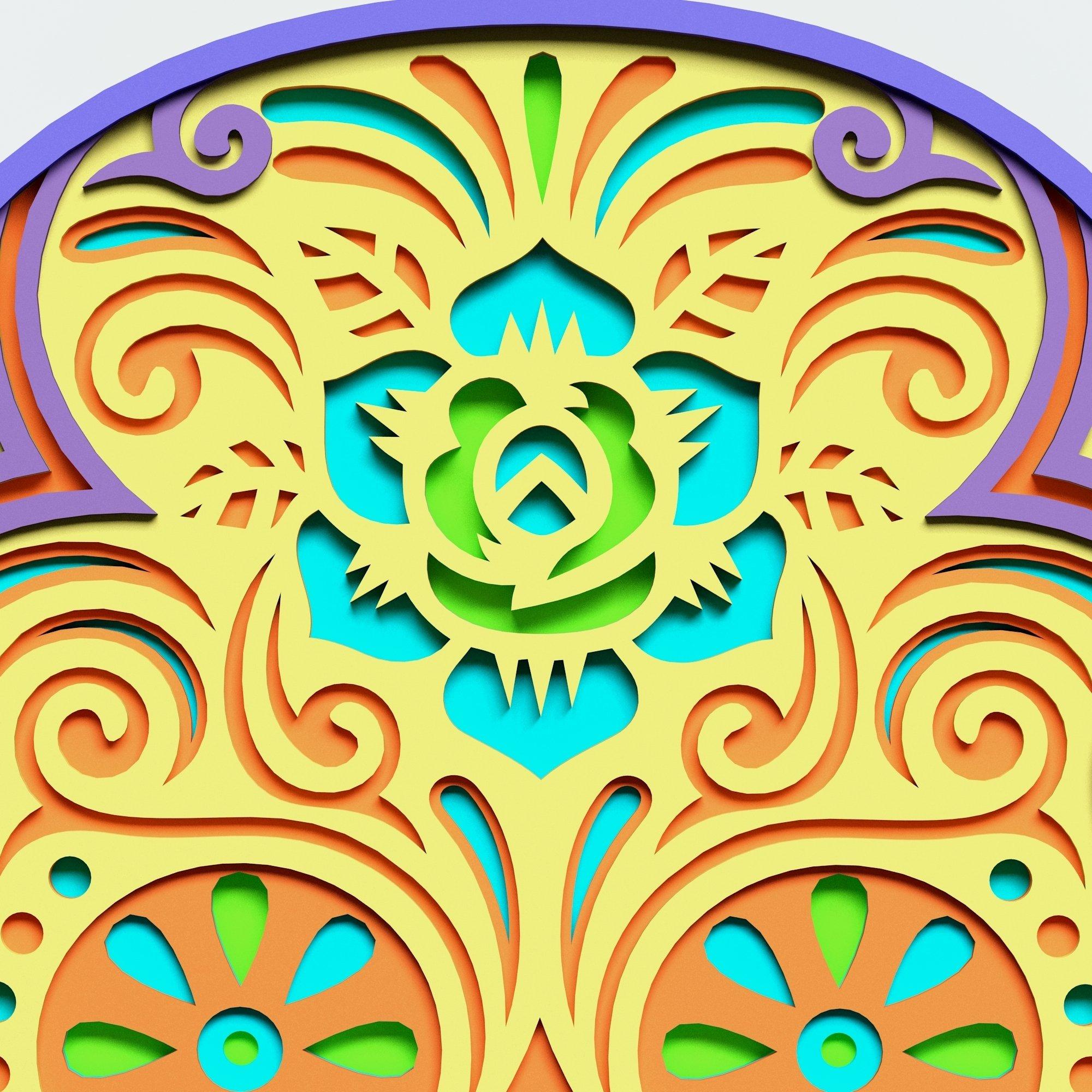 Multilayer Sugar Skull Mandala - S2, for cutting machines example image 3