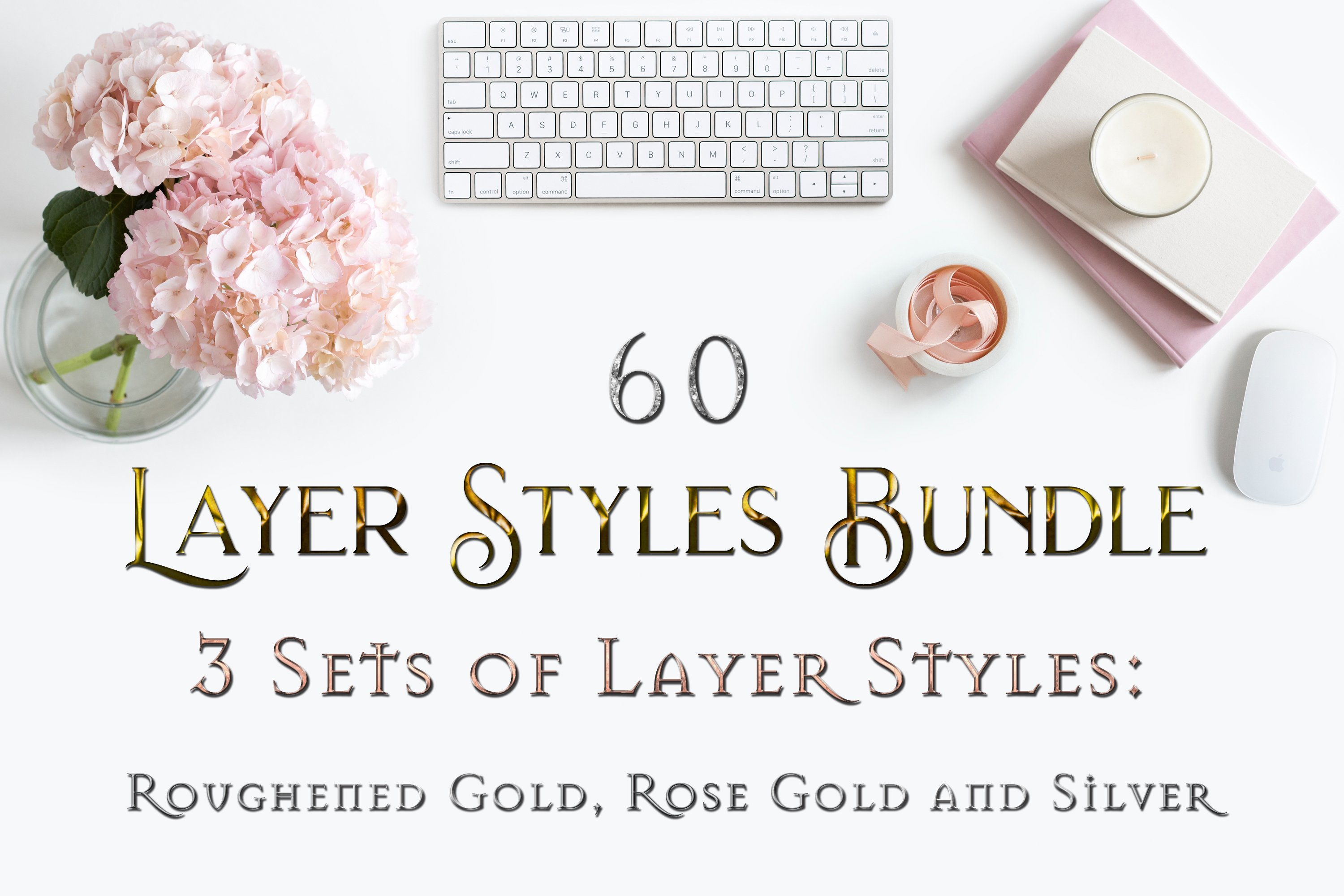 60 Layer Styles Bundle for Photoshop - Gold, Rose G, Silver example image 1
