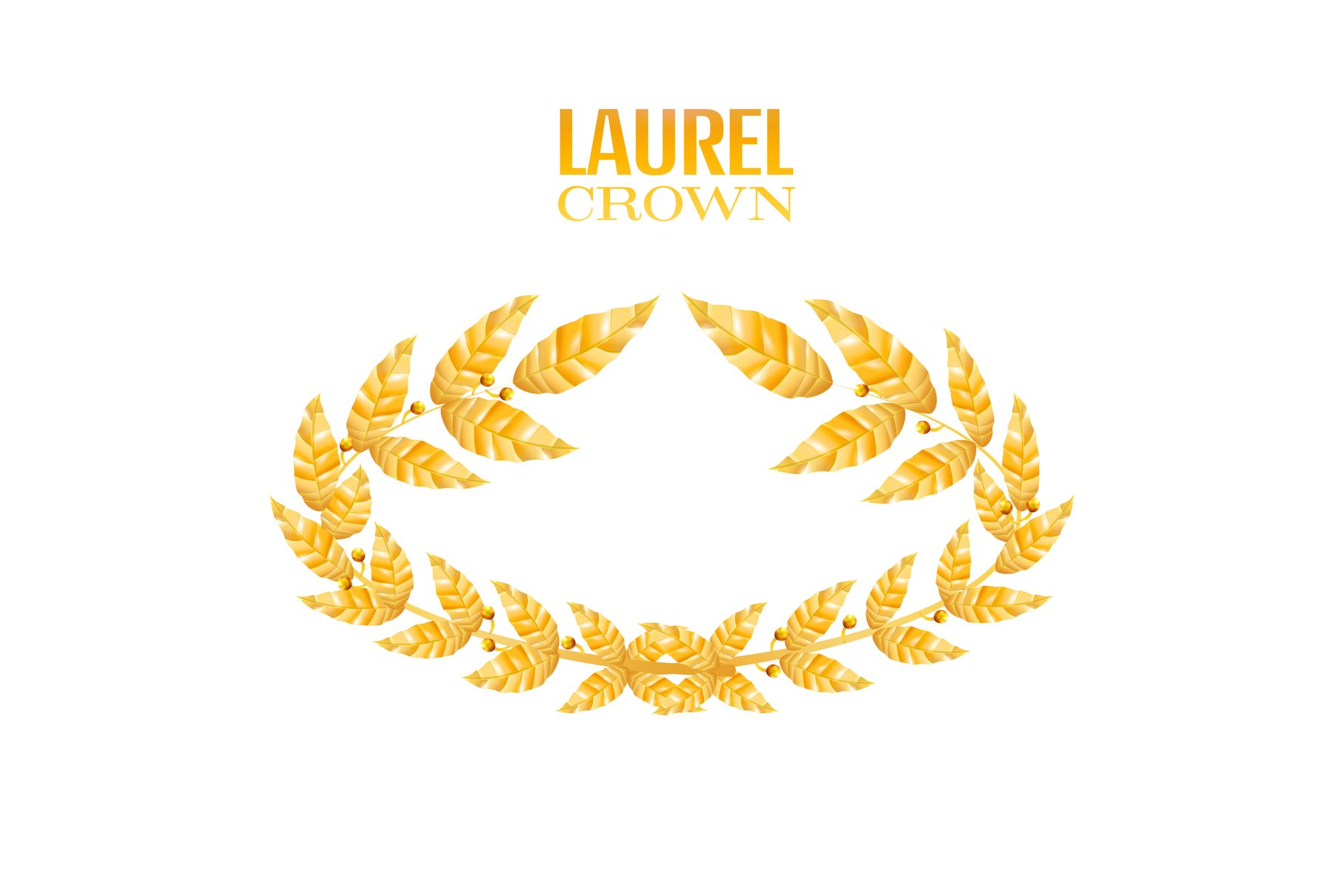 Laurel Crown. Greek Wreath With Golden Leaves. Vector example image 1