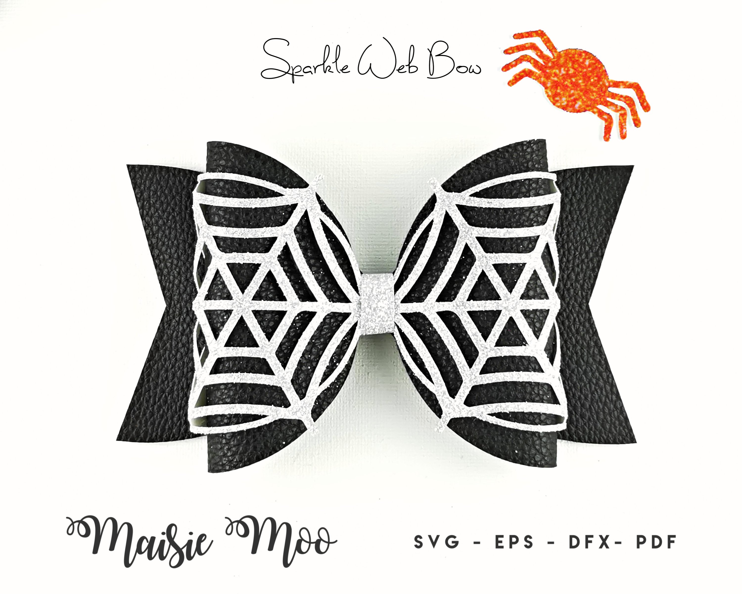 Spiderweb Bow Template SVG, Lace Bow SVG, Felt Bow PDF, example image 2
