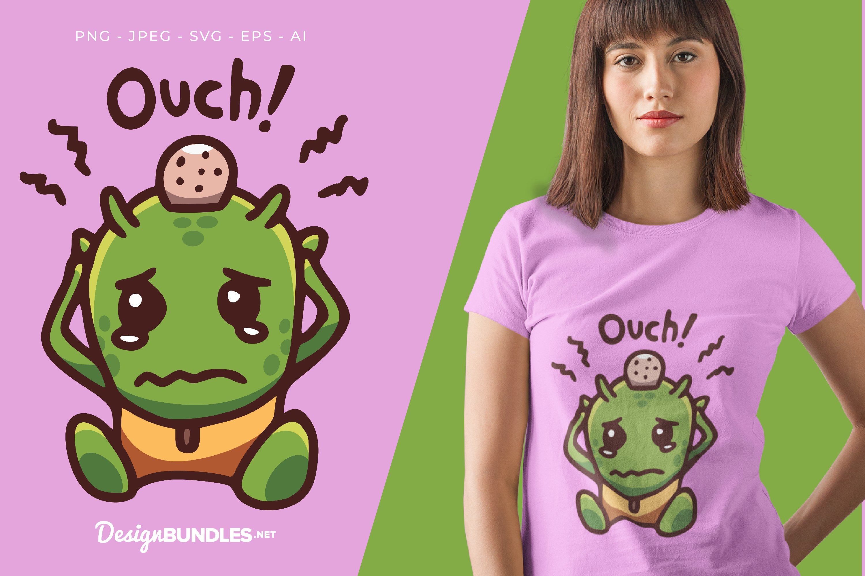 Bumped Head Green Alien Vector Illustration For T-Shirt example image 1