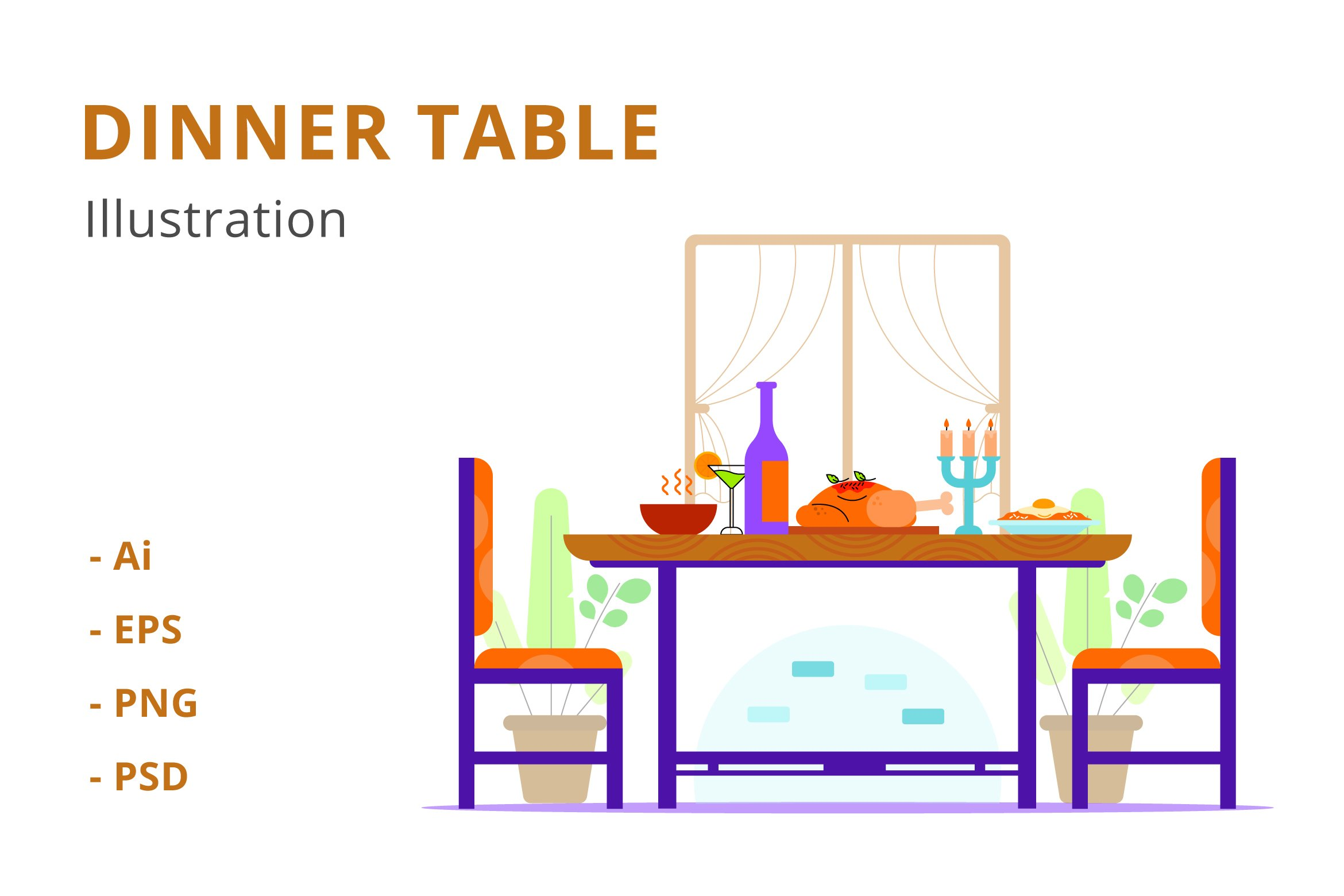 Dinner Table Illustration example image 1