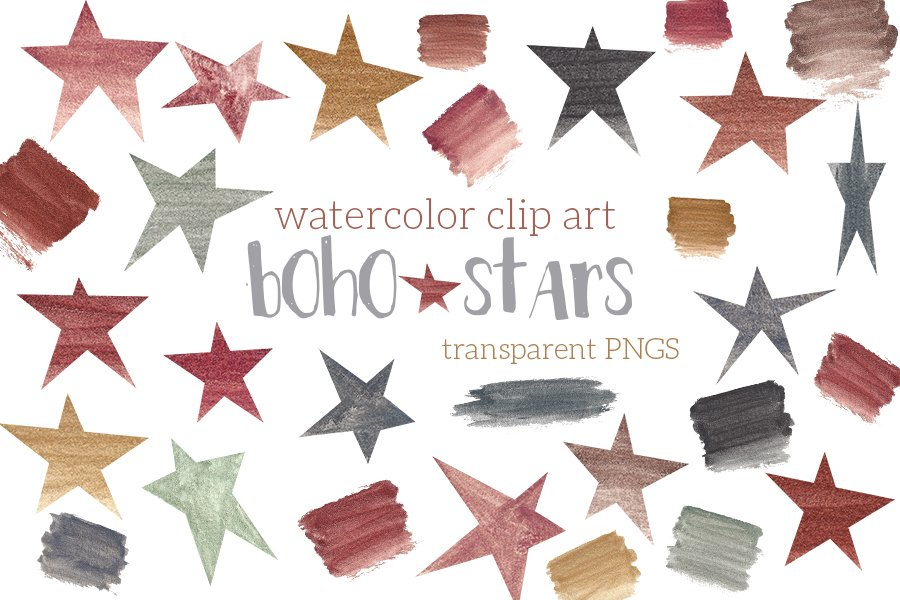 Boho Stars Watercolor Clip Art Neutral Colors Boy Girl example image 1