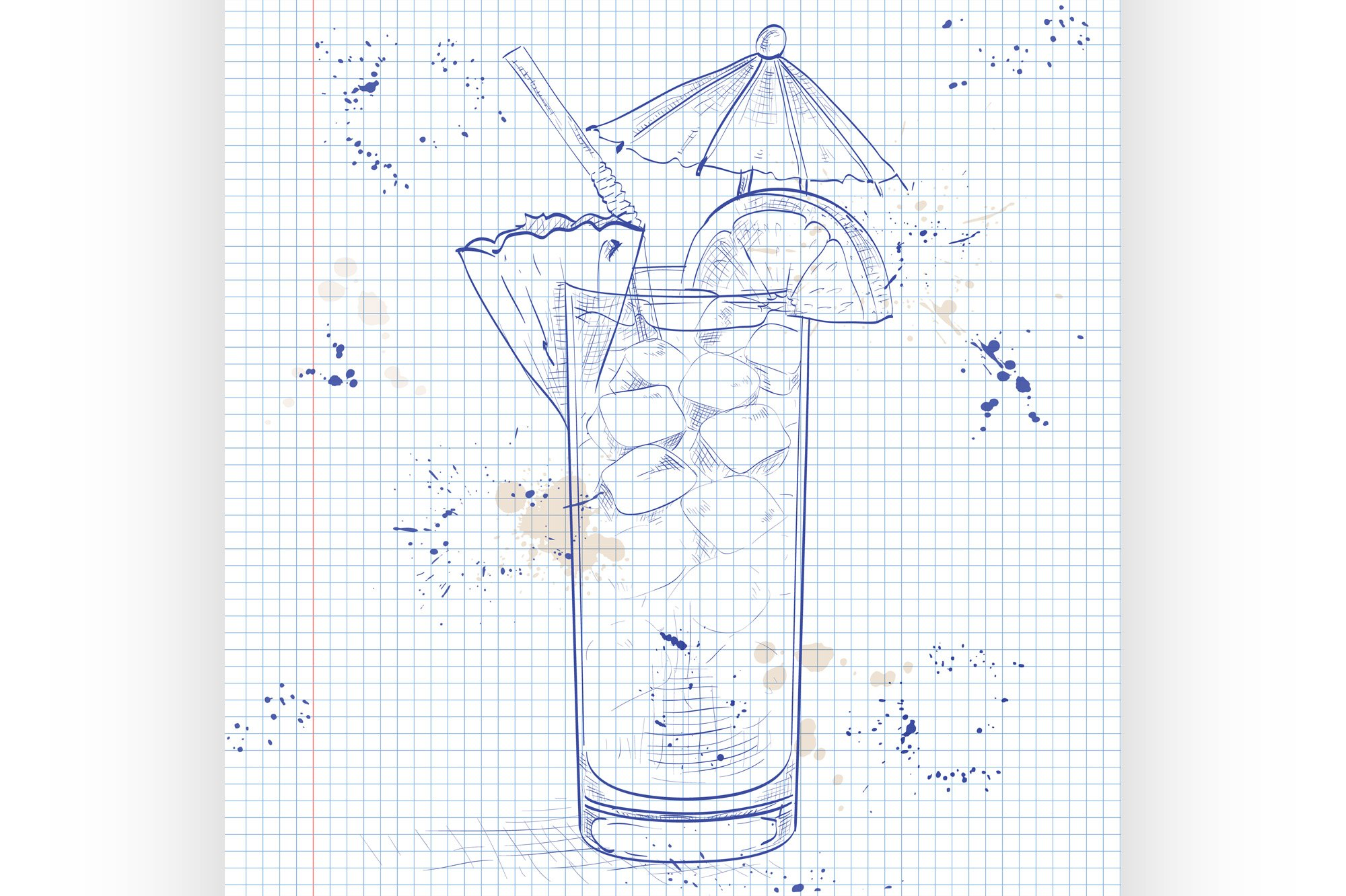 Planter Punch cocktail on a notebook page example image 1