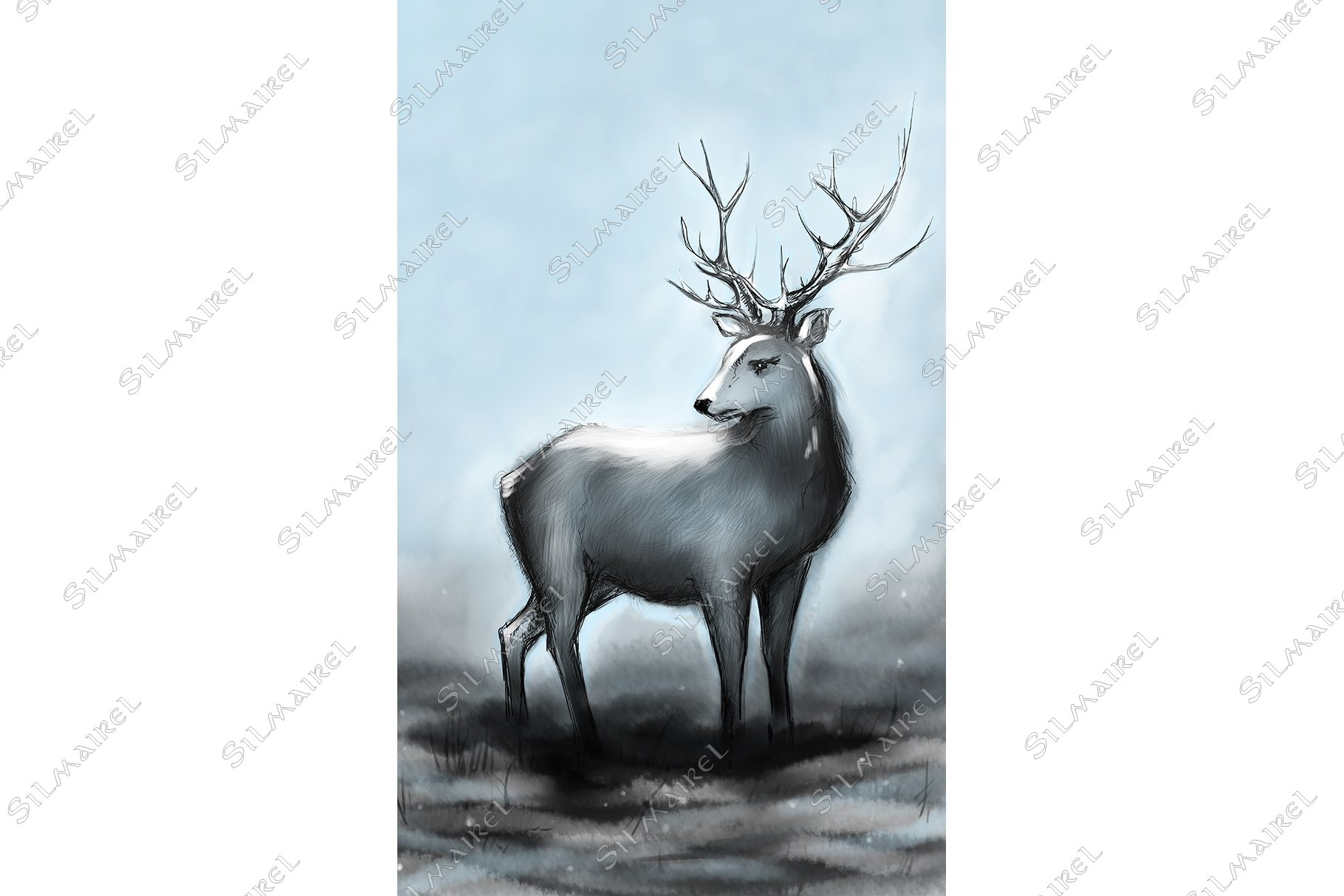 Winter snow forest navy deer with big horns example image 1