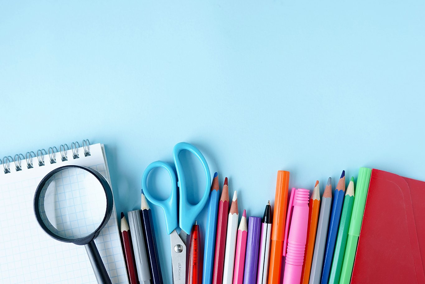 Colorful stationary school supplies example image 1