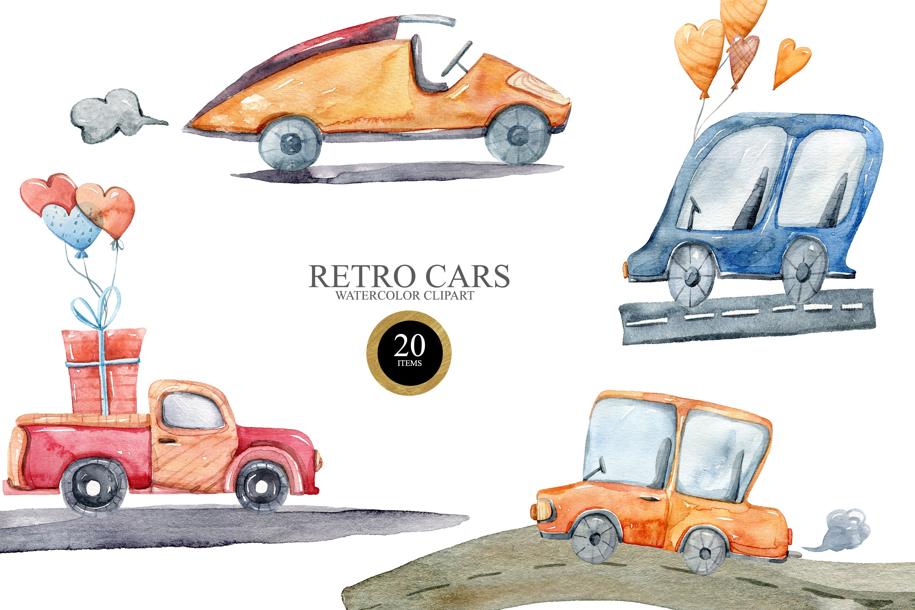 Watercolor funny cars clipart. Transport creator example image 1