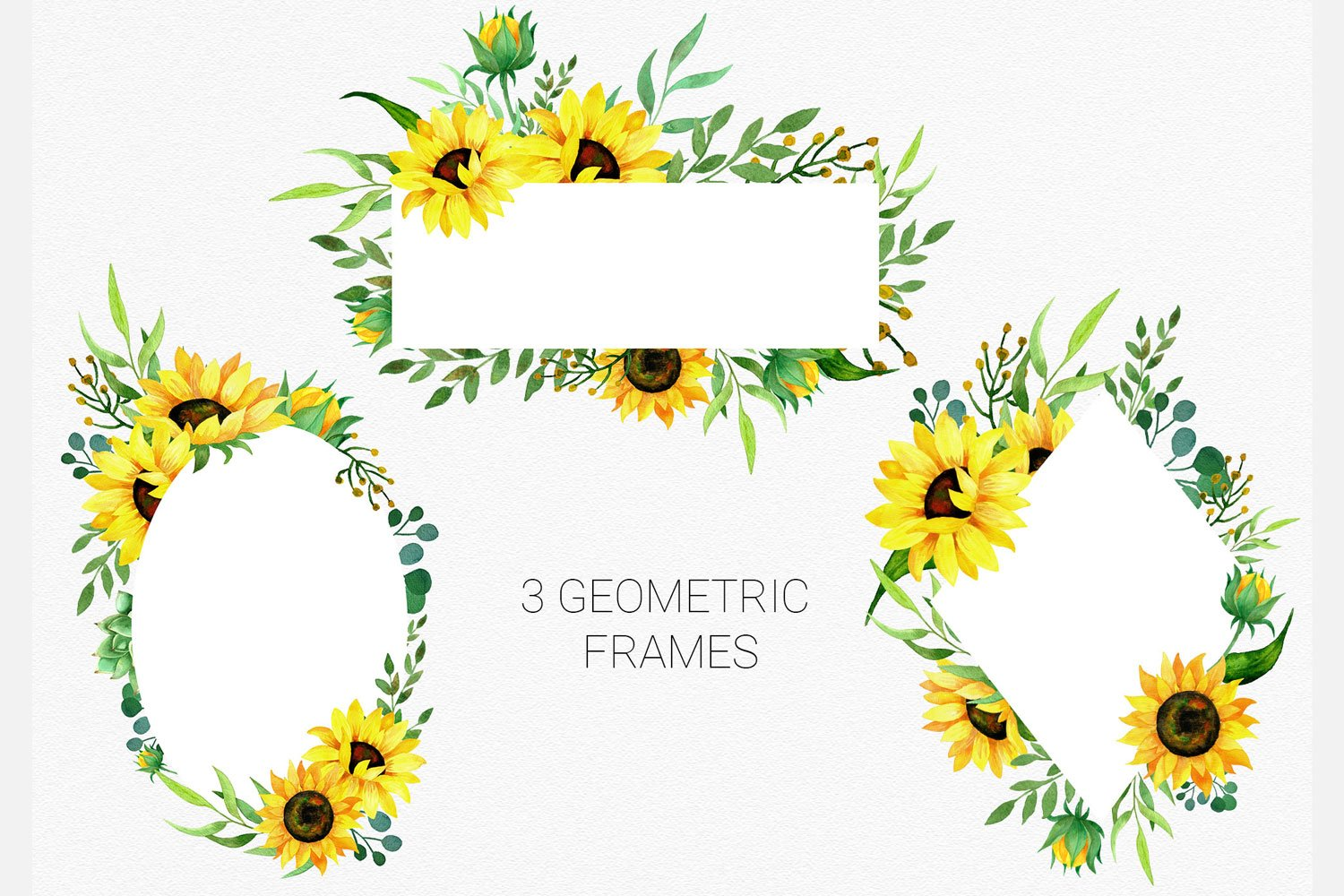 Sunflowers watercolor clipart, bouquets and frames example image 3