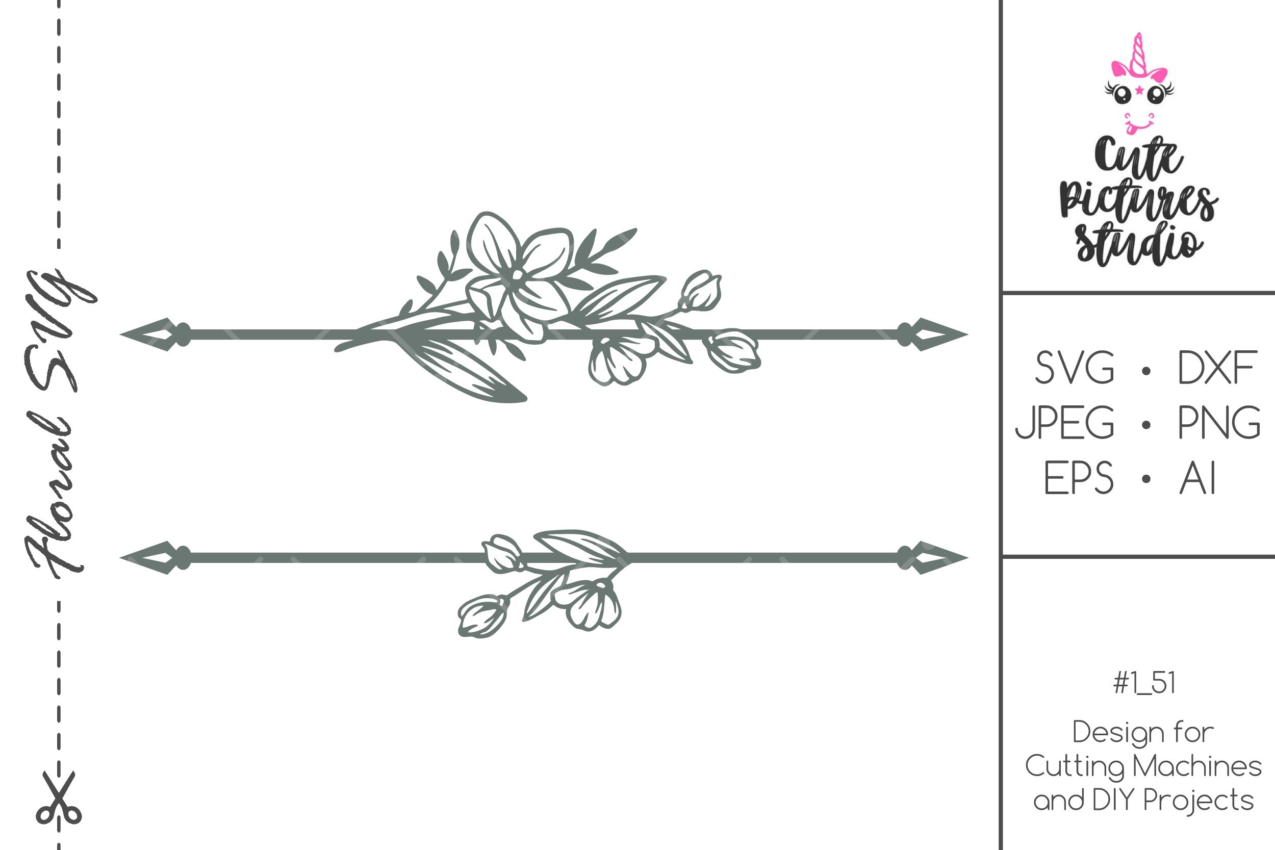 Wedding monogram frame with wildflowers SVG DXF PNG cut file example image 1
