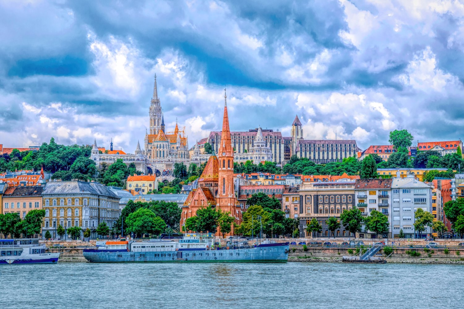 Old houses of Budapest and the Danube River example image 1