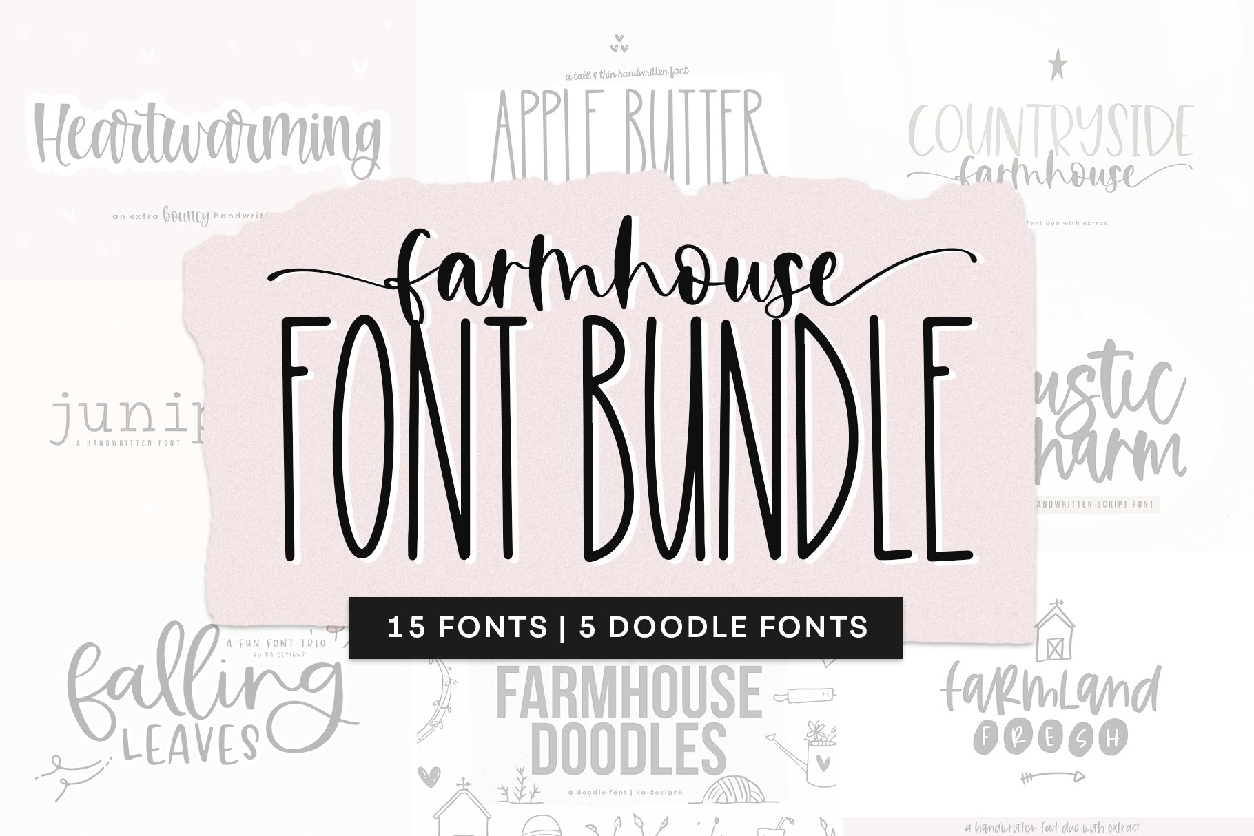 Farmhouse Font Bundle - Handwritten Fonts for Crafters! example image 1