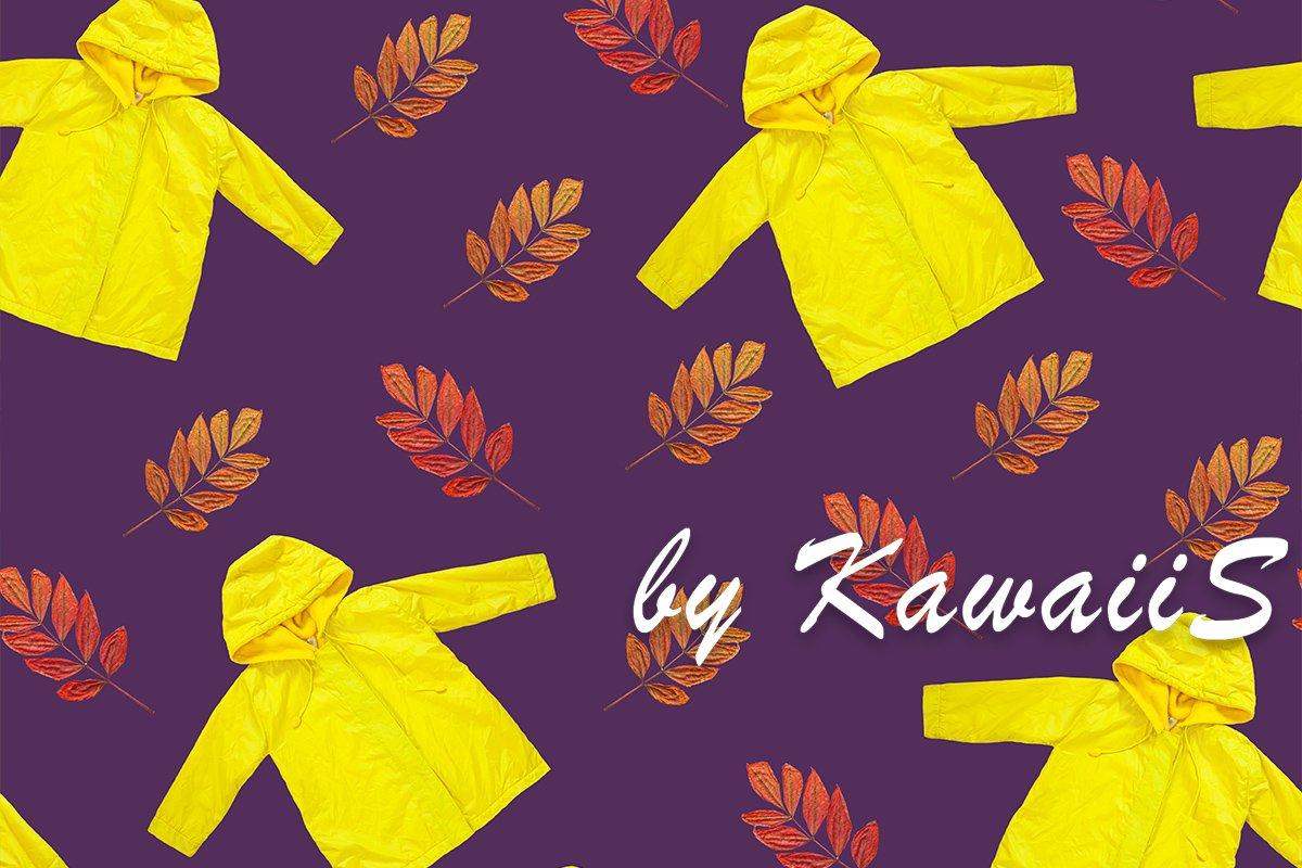 Yellow raincoat, autumn leaves seamless pattern on purple example image 1