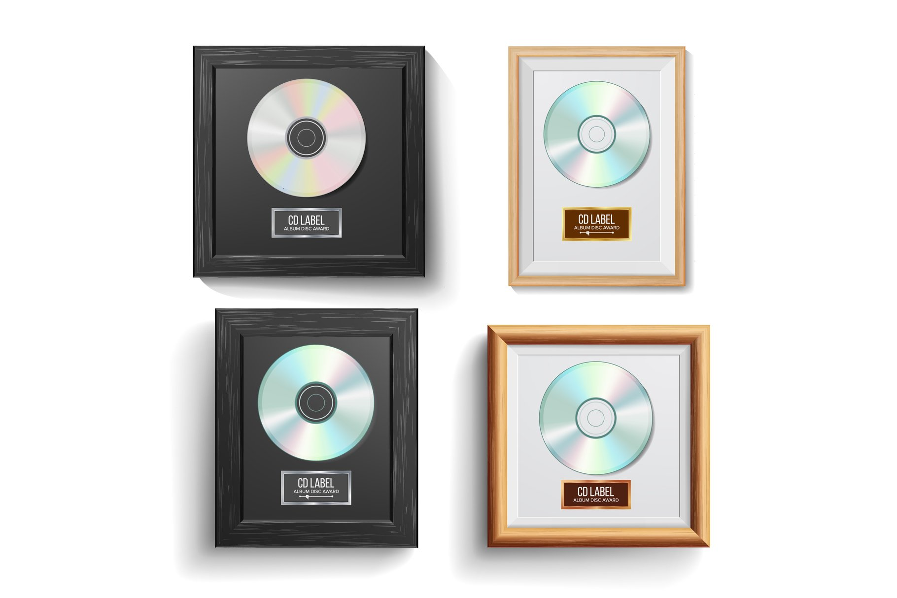 CD Disc Award Set Vector. Modern Ceremony. Best Seller. example image 1