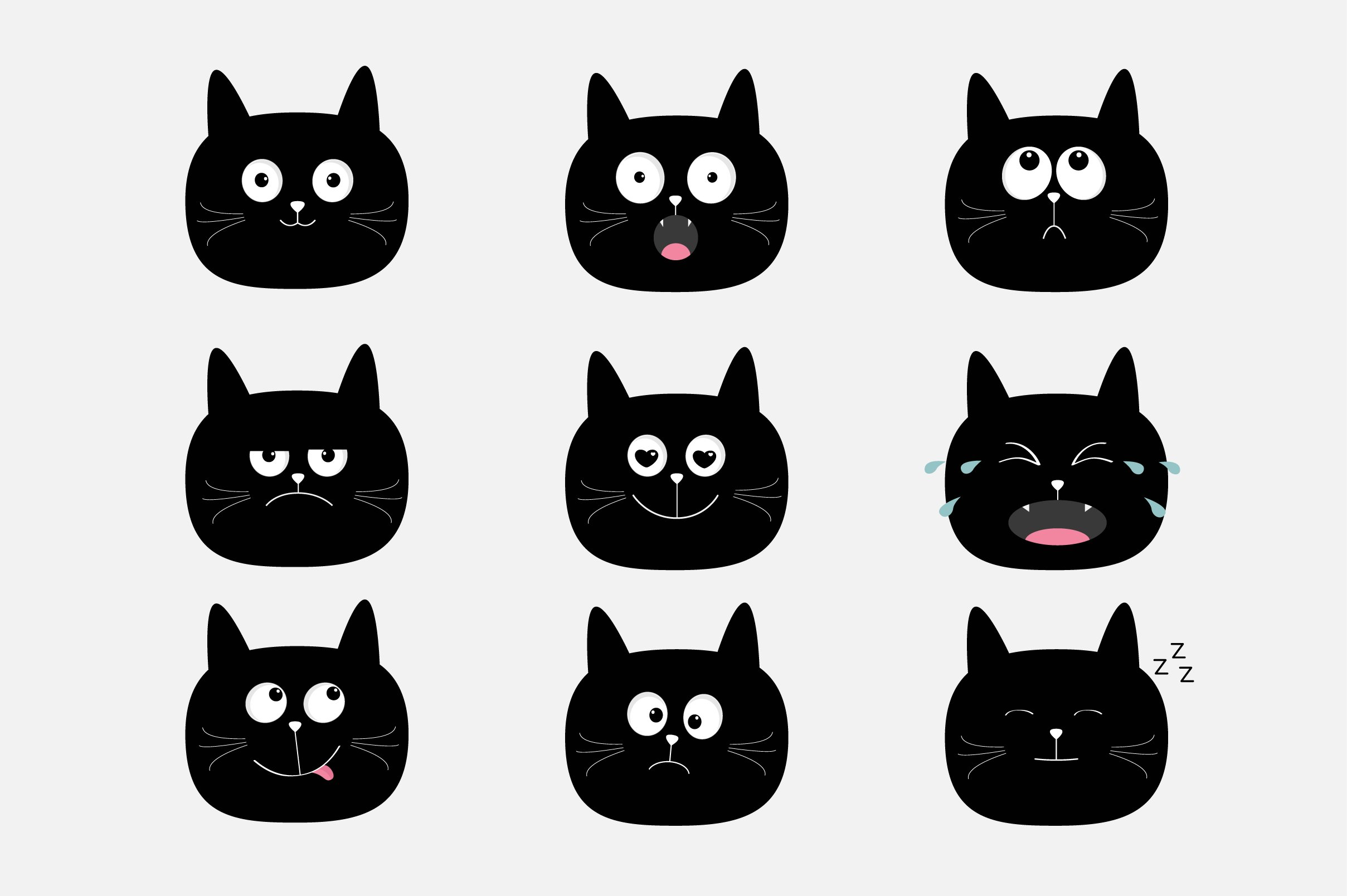 Cat heads with different emotions. example image 1