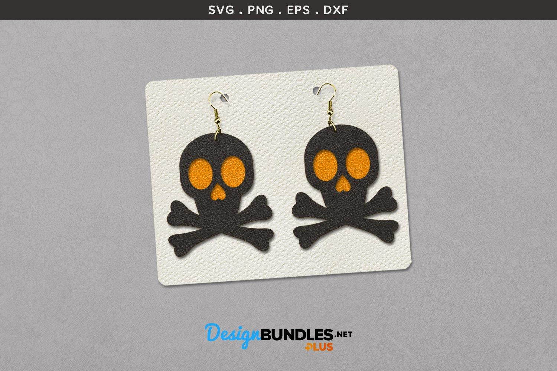 Halloween Earrings Template | Skull Silhouette example image 1