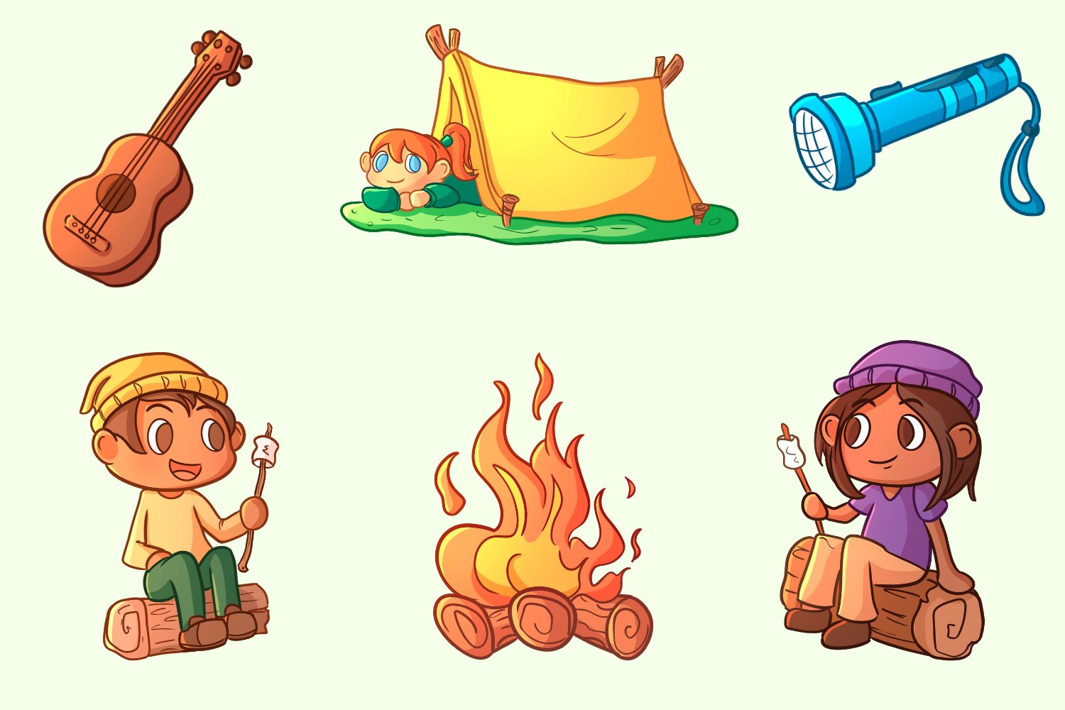 Kids Camping Trip Illustrations example image 3