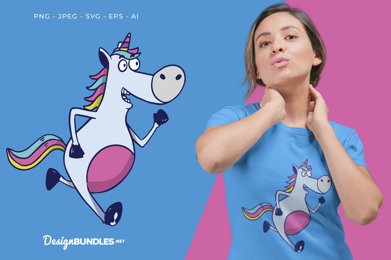 Running Unicorn Vector Illustration For T-Shirt Design example image 1