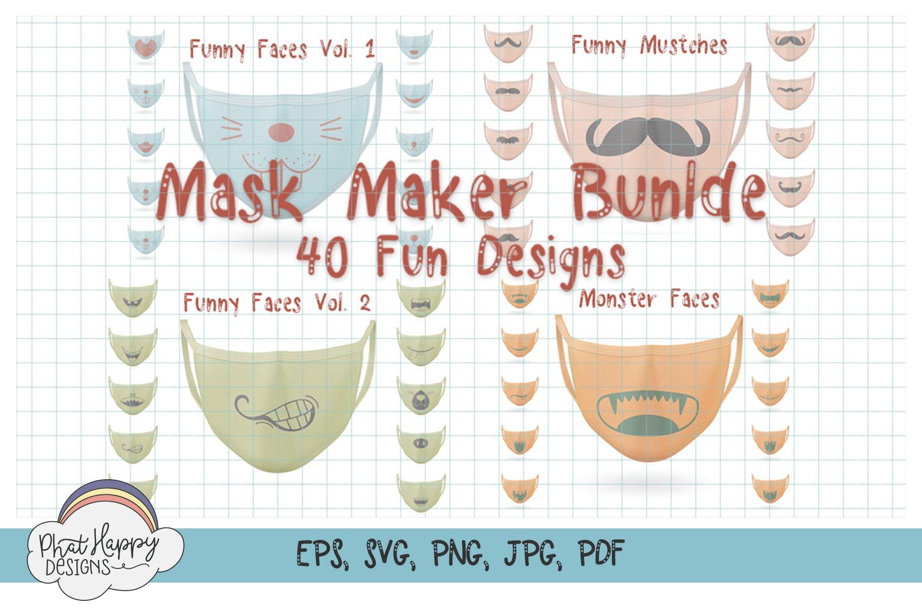 Funny Faces for Masks 40 Design Bundle - SVG Cut Files example image 1
