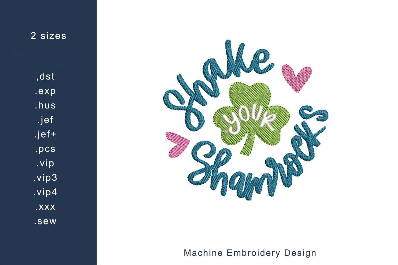 Shake Your Shamrock Machine Embroidery Design 2 sizes example image 1