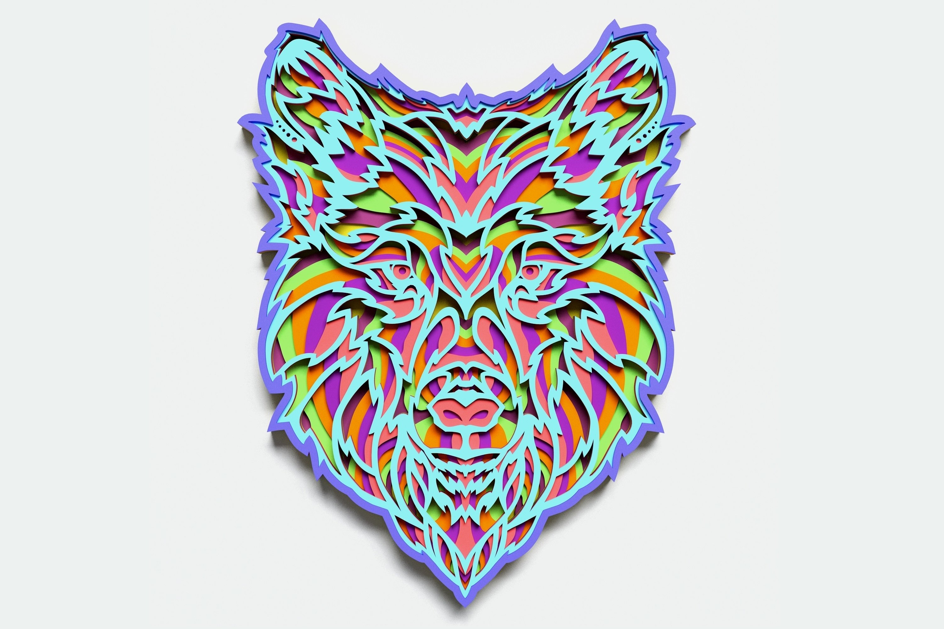 Multilayer Wolf Mandala, Vector file for cutting example image 1