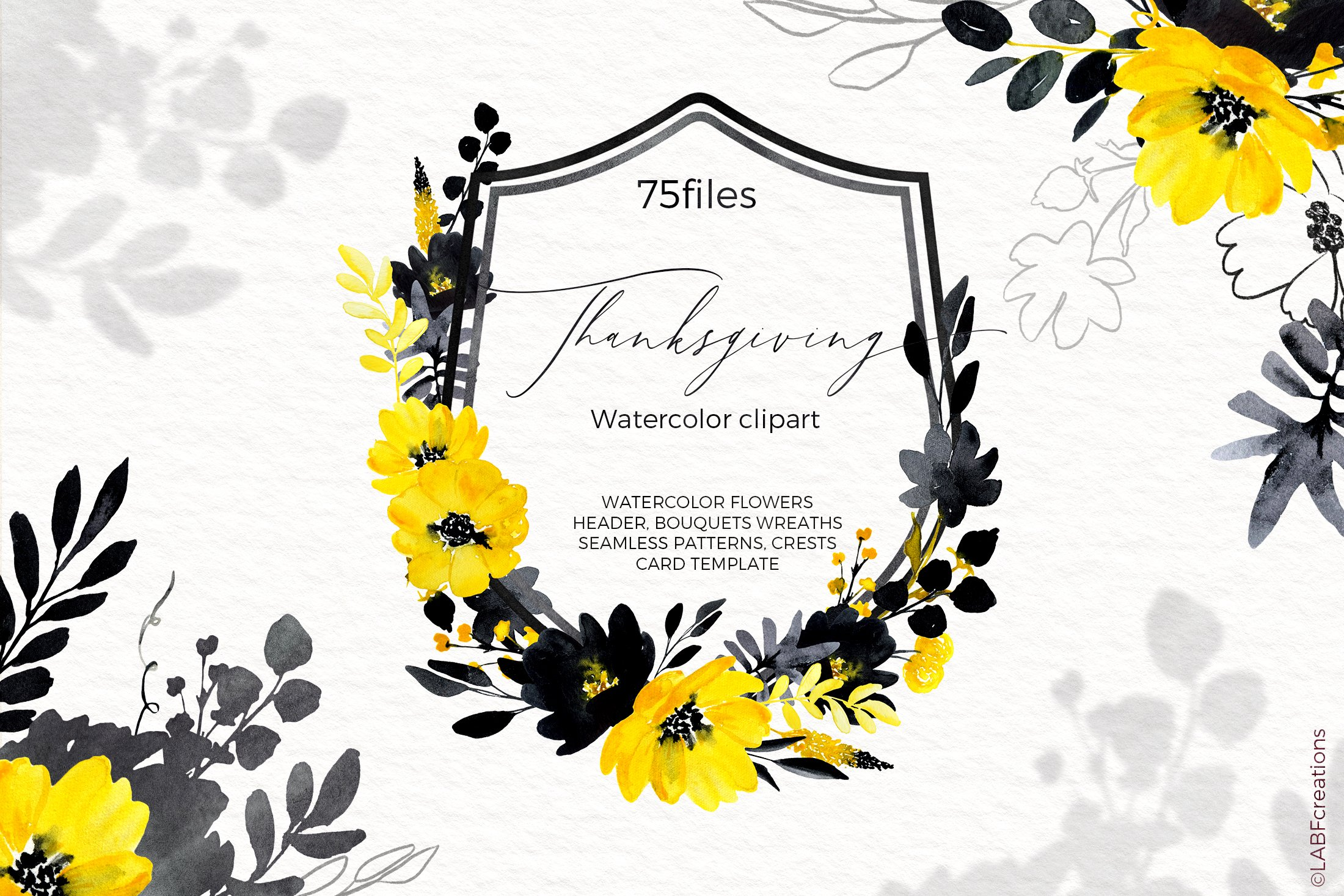Thanksgiving. Black & Yellow Watercolor flowers example image 4