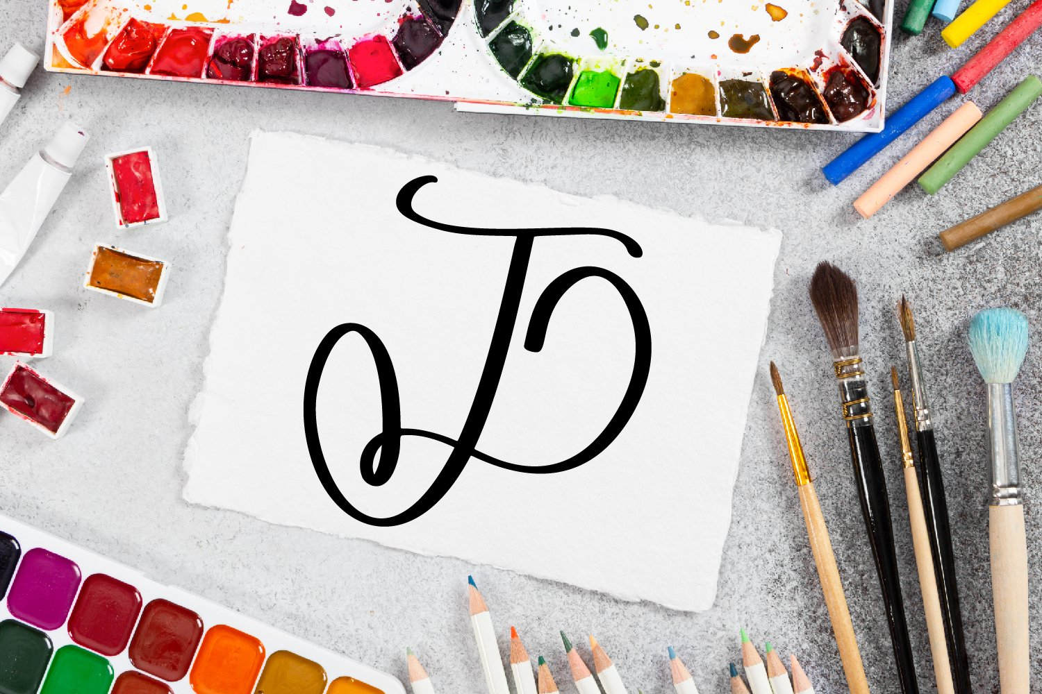Monogram Letters Font - Swoosh-y Beautiful Hand Lettered example image 4