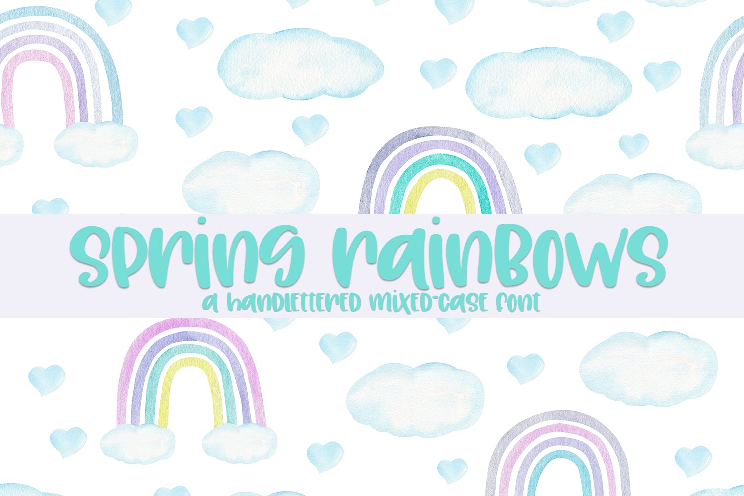Spring Rainbows - A Hand-Lettered Mixed-Case Font example image 1