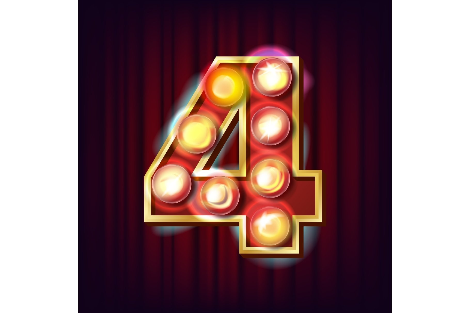 4 Number Vector. Four Font Marquee Light Sign. Realistic example image 1