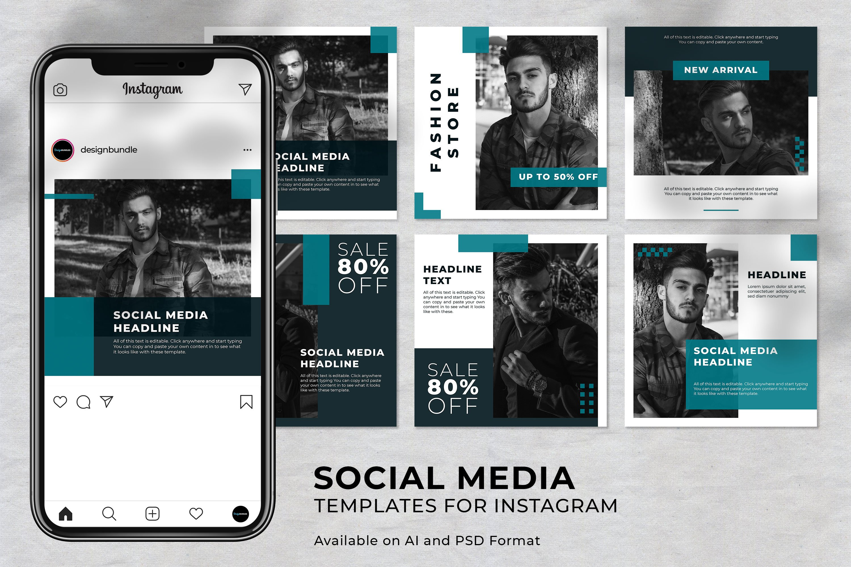 Man Fashion Instagram Social Media Template example image 1