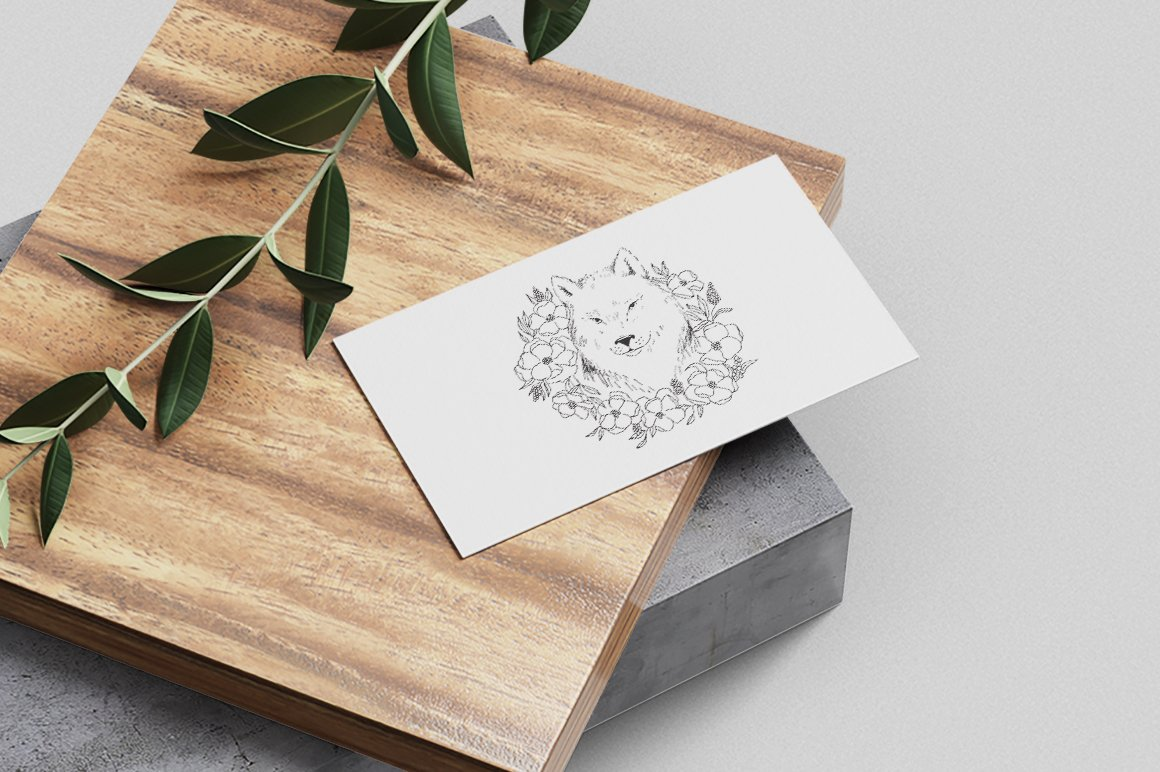 Wolf SVG / Wolf illustration / Wolf with flowers example image 3