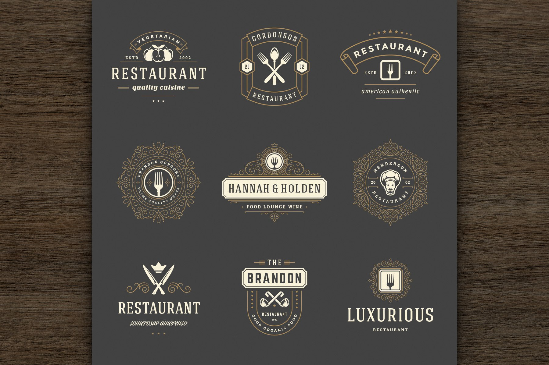 36 Restaurant Logos and Badges example image 3