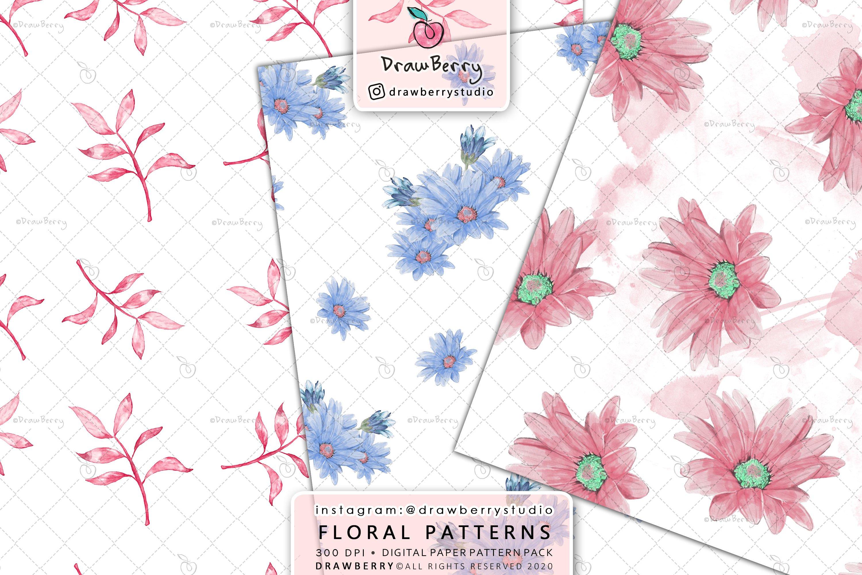 Watercolor Floral Digital Paper Pack example image 3