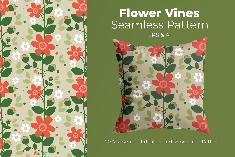 Flower Vines - Seamless Pattern example image 1