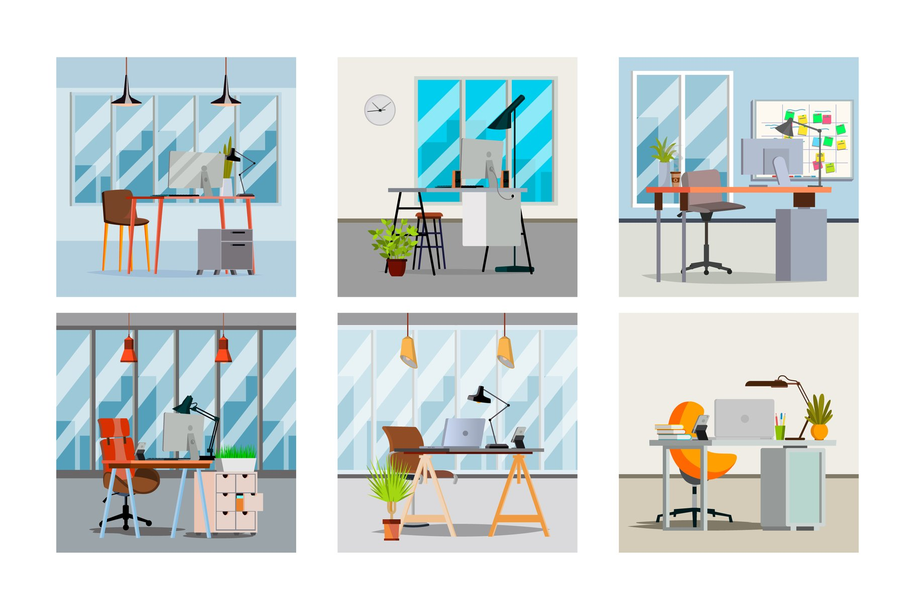 Office Interior Vector. Interior Office Room With Furniture example image 1