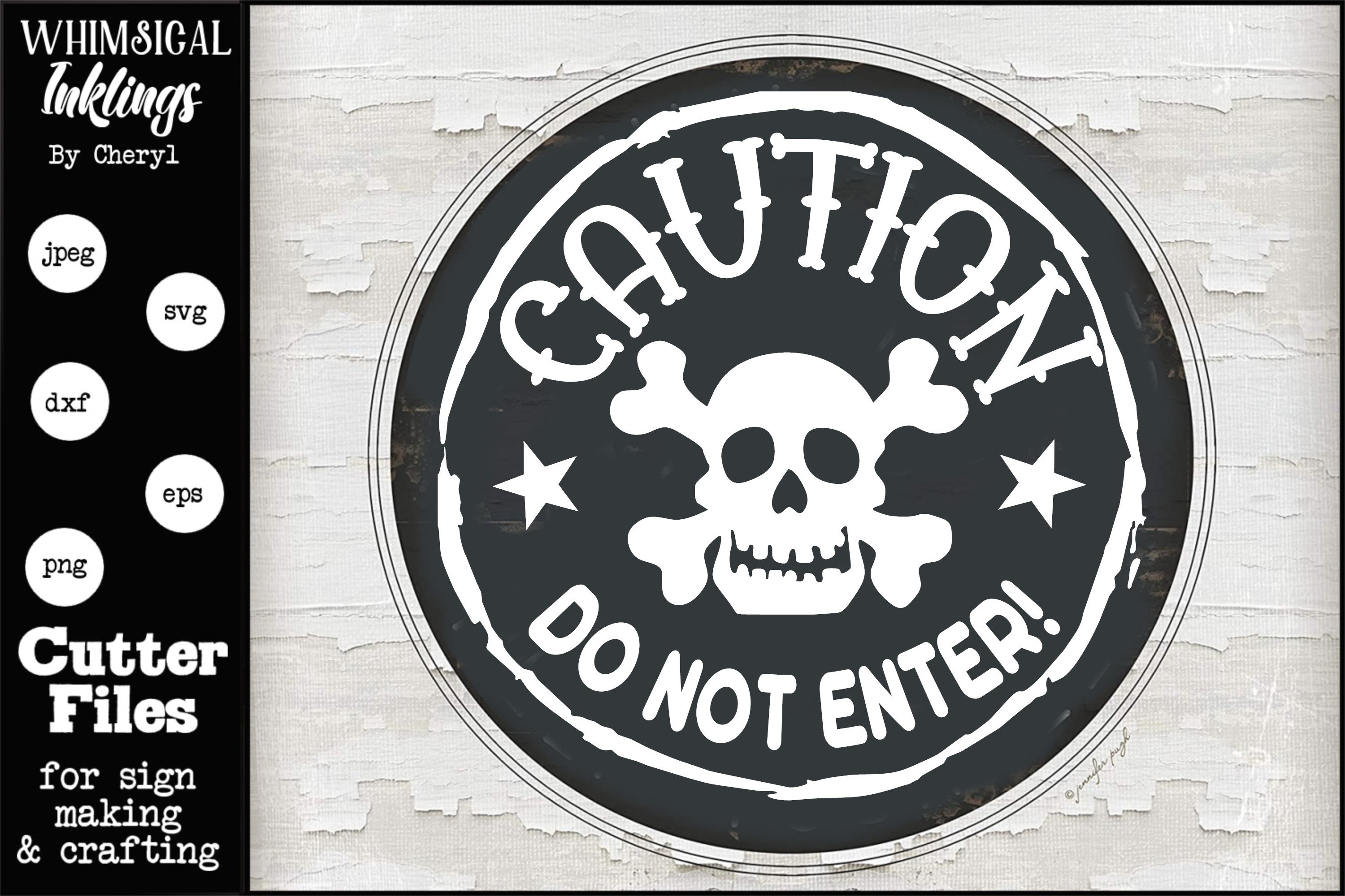 Caution Do Not Enter-Round Halloween SVG example image 1