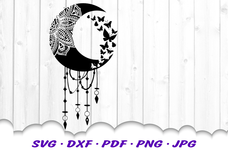 Mandala Moon Butterfly Dream Catcher SVG Cut Files Bundle example image 9