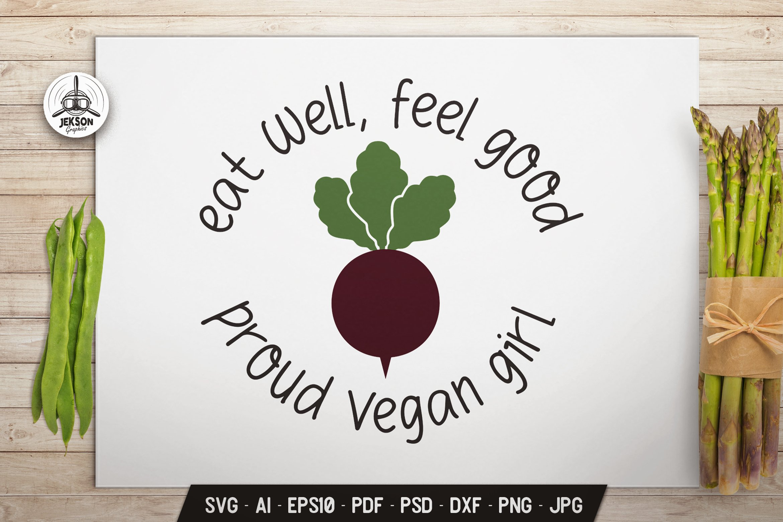 Vegan Girl Logo Design Retro Vector Beet Badge SVG Cricut example image 1